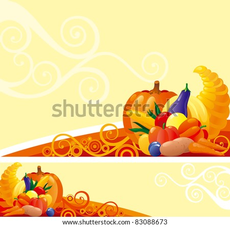 Background and banner of Horn of Plenty with pumpkins and other vegetables on abstract background - stock vector