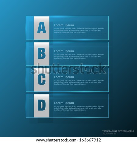 Background and labels with transparent styles, you can replace the text - stock vector