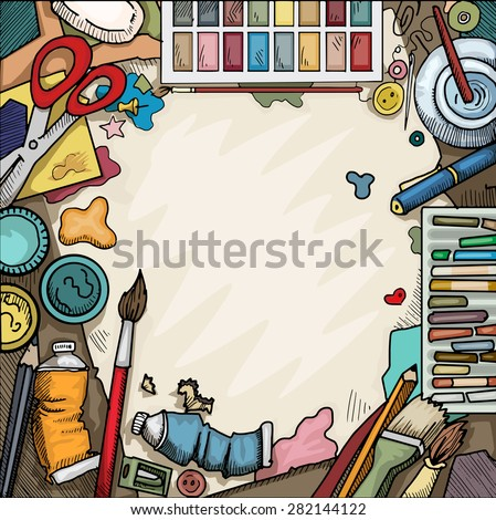 Background, Ariel view of arts and crafts table with various objects surrounding a blank piece of paper, vector illustration - stock vector