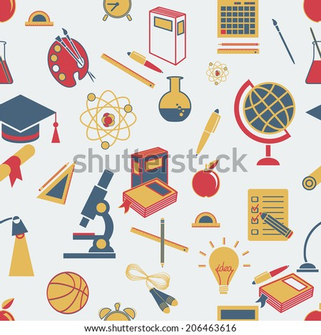 Background Back to school, vector, flat icons (Education symbols) - stock vector