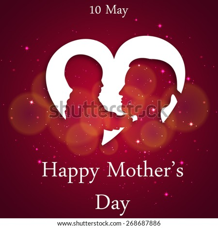 Background, banner with text Mom for Happy Mothers Day celebration. - stock vector