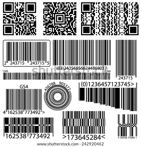 BACKGROUND BARCODE AND QR CODE - stock vector
