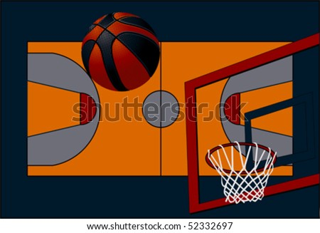 background basketball court, isolated on white background, clipping path included, vector - stock vector