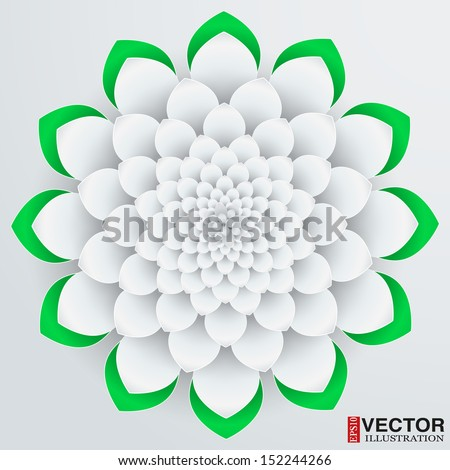 Background beautiful paper flower. Vector illustration, EPS10, editable and isolation - stock vector