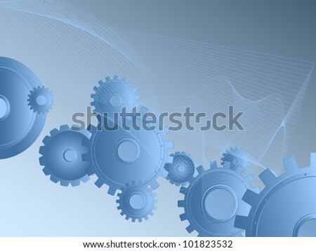 Background blue. Abstract vector image of gears and wheels. Mechanical Industrial imagination.