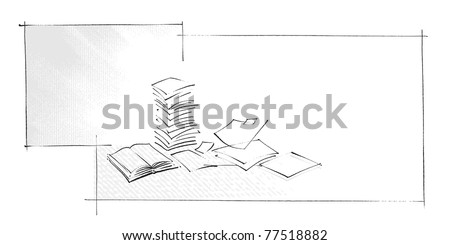 background / border - book and sheets of paper icons, simple freehand drawing vector - stock vector