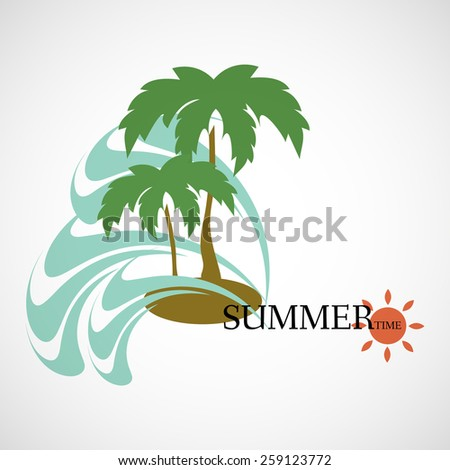 Background, card, logo. Summer time. Palm and the sea. vacation - stock vector