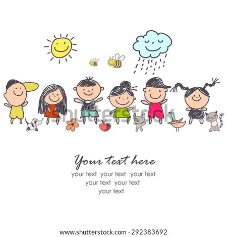 background cheerful children - stock vector