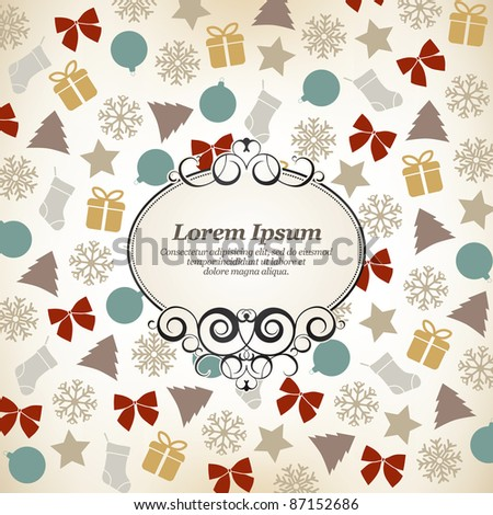 Background christmas, vintage frame for invitation - stock vector