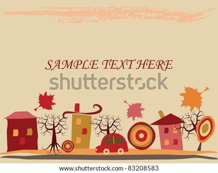 background. city. autumn. - stock vector