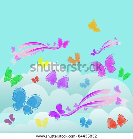 background colorful butterflies in the sky clouds - stock vector