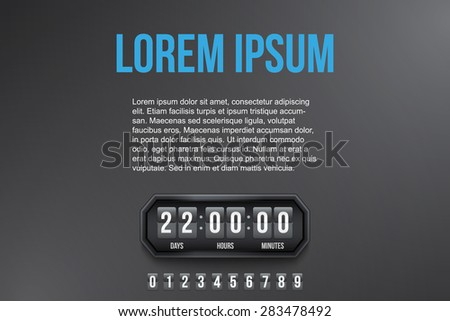 Background Coming Soon and countdown timer with digit samples. Vector Illustration isolated on white background. - stock vector