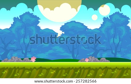 Background concept for a mobile or video game. Seamless cartoon fantasy landscape. Vector eps 10. - stock vector