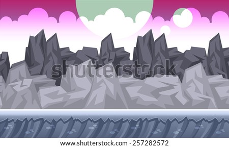 Background concept for a mobile or video game. Seamless cartoon landscape. Vector eps 10. - stock vector