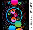 background consisting of bright gears and arrows.the concept of motion - stock vector