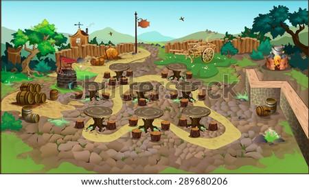 background. countryside. vector - stock vector