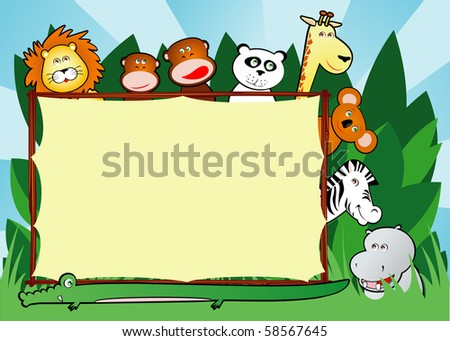 Background customizable with funny smiling jungle animals, vector - stock vector