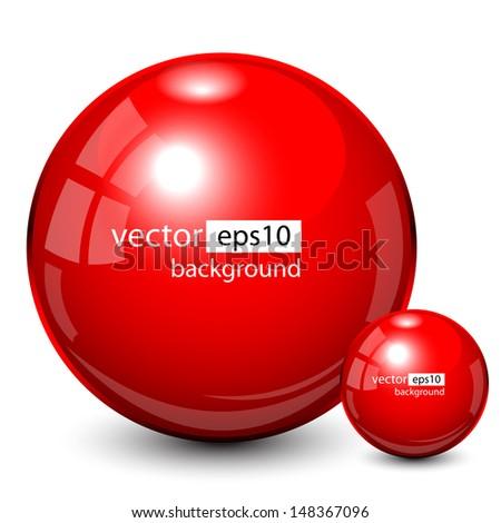 Background design, 3d red spheres, vector - stock vector