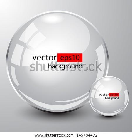 Background design, 3d white spheres on grey, vector - stock vector
