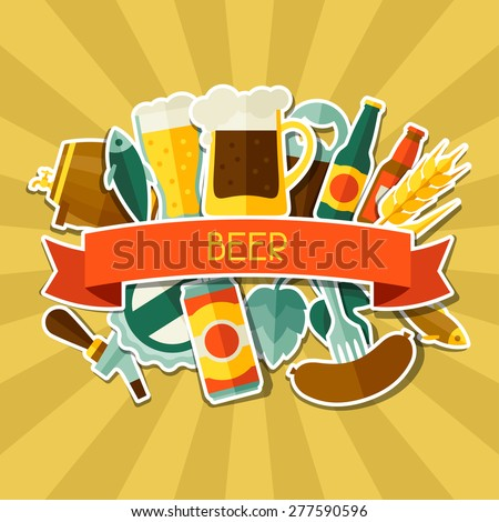 Background design with beer sticker icons and objects. - stock vector