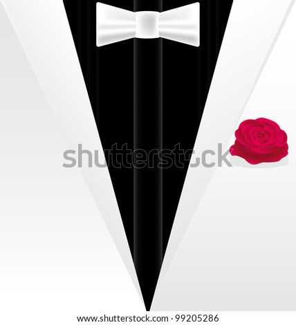 background fantasy: white-black dress of a gentleman with red rose