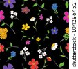 Background - floral seamless on a black with a variety of flowers - stock photo