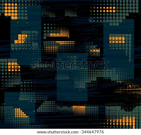Background for boy. Modern abstract seamless grunge pattern. Dark blue background with small squares and worn grey and orange elements - stock vector