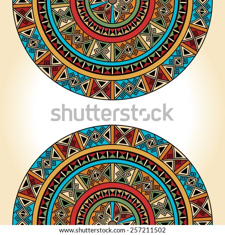 Background for cards, invitations, banners. You can use it for place any text here. Ethnic traditional colorful bright half round pattern on beige background, vector - stock vector