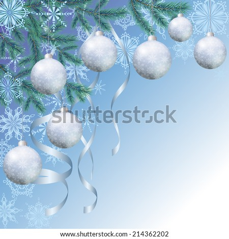 Background for Christmas holiday design, spruce branches, balls, streamers and snowflakes on blue. Eps10, contains transparencies. Vector - stock vector