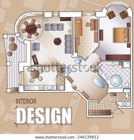 Background for design of interiors with parts of detailed architectural plan and flat projection with furniture.  - stock vector