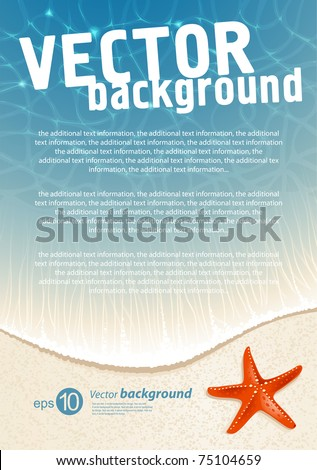Background for design on sea subjects with a beach - stock vector