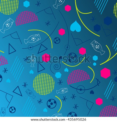 Background for Euro 2016 World FIFA championship. France. Football competition. Flyer, template, brochure design. Championship soccer abstract blue background with different shapes. Geometric pattern - stock vector