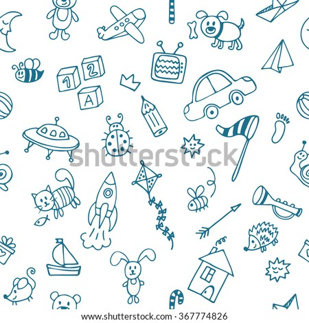 Background for little boys. Hand drawn children drawings color seamless pattern. Doodle children drawing background. Vector illustration - stock vector