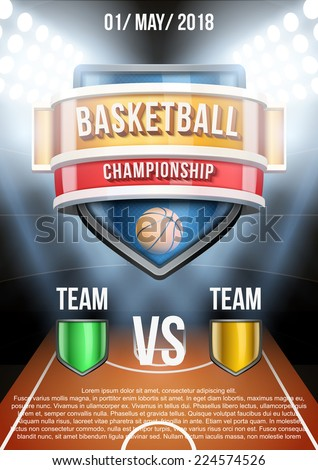 Background for posters basketball stadium game announcement. Editable Vector Illustration. - stock vector