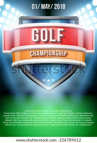 Background for posters golf field game announcement. Editable Vector Illustration. - stock vector