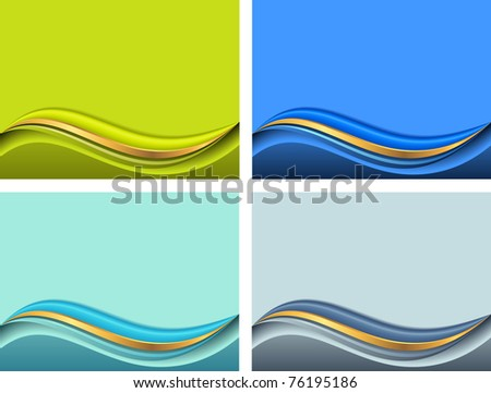 background for presentation with wave in different colors - stock vector