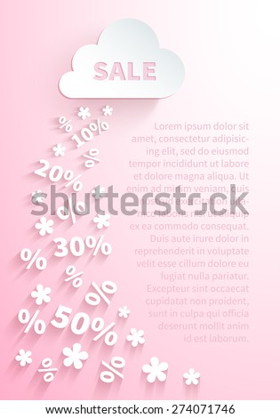 Background for seasonal promo actions with a white paper cloud and snowfall of percent and discounts on a light pink background for spring holidays sales promotion - stock vector