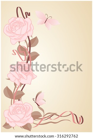 Background for text with roses and butterflies in art Nouveau style.