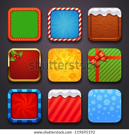 background for the app icons-christmas set - stock vector