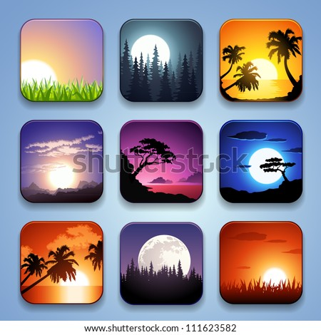 background for the app icons-Summer landscape set - stock vector