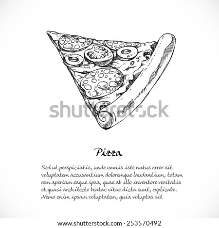 Background for your text with doodles on a teme Italian food - pizza with sausage - stock vector