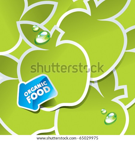 Background from green apples with an arrow by organic food. Vector illustration. - stock vector