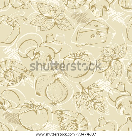 Background from hand-drawn pizza ingredients on a beige - stock vector