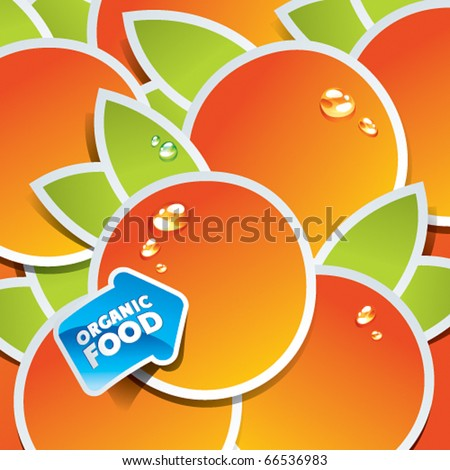Background from oranges with an arrow by organic food. Vector illustration. - stock vector