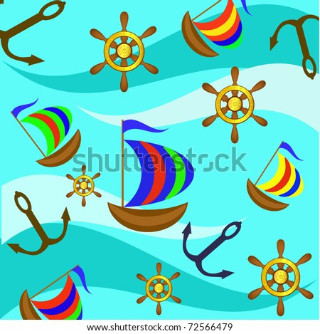 Background from the yacht, a steering wheel and an anchor against waves