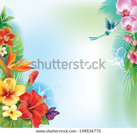 Background from tropical flowers and leaves - stock vector