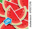 Background from watermelon slices with an arrow by organic food. Vector illustration. - stock vector