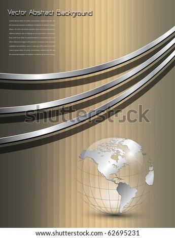 Background gold with earth globe, vector. - stock vector