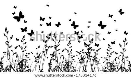 background grass and butterflies. Vector - stock vector