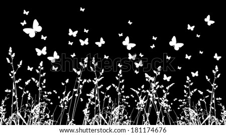 background grass and butterflies. Vector  - stock vector